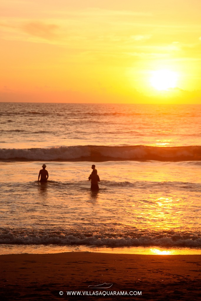 sunset bath with friends in kuta bali